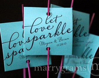 Sparkler Tags - Let Love Sparkle - Wedding Favor Tags Script Custom with Names and Date - Sparklers (24 / 36ct) SS03