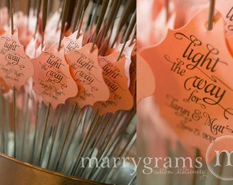 Sparkler Tags - Light the Way for the Bride & Groom - Wedding Favor Tags Script w. Names, Date - Sparklers Silver, Gold, Pink (24 / 36ct)