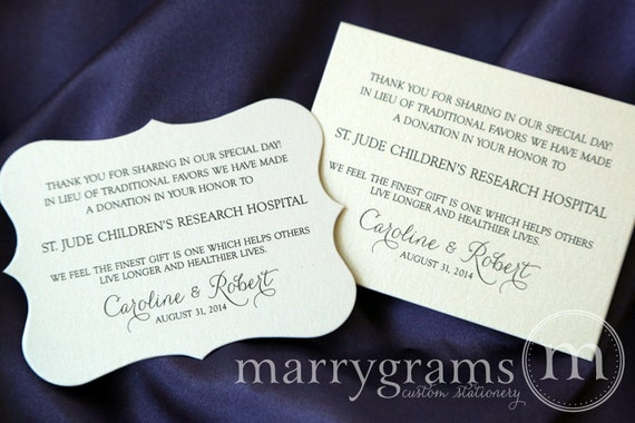 Wedding Donation Favor Cards In Lieu Of Favors Reception