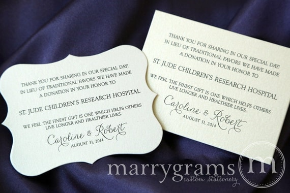 Wedding Favor Donation Cards - In Lieu of Favors Reception Place Card ...