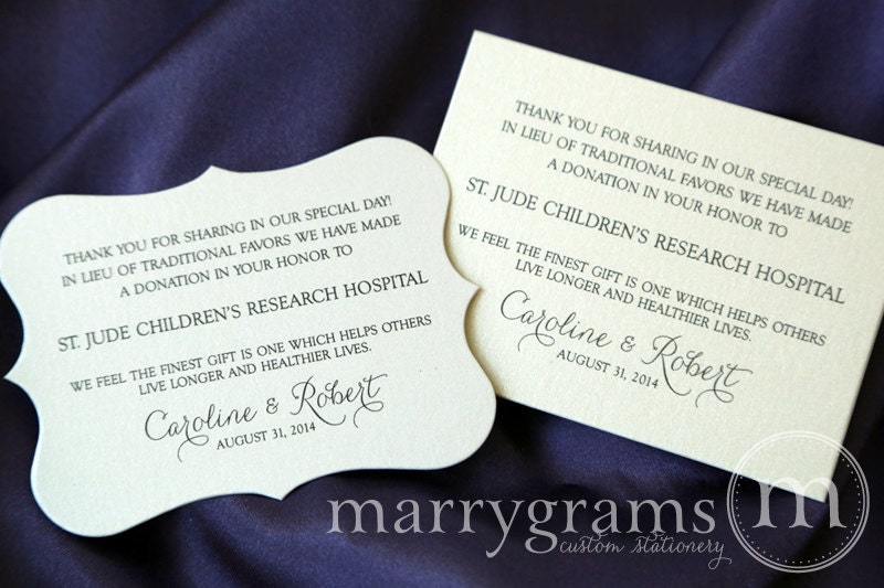 Wedding Gift List Donation : Wedding Donation Favor Cards In Lieu of Favors Reception