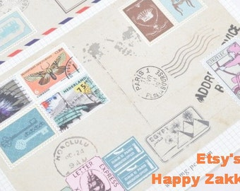Postage Stamp Sticker Set - 2 sheets of stamp prints and 1 sheet of check stamp - 3 Sheets