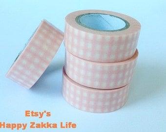 Pink Check - Japanese Washi Masking Tape - 11 Yards