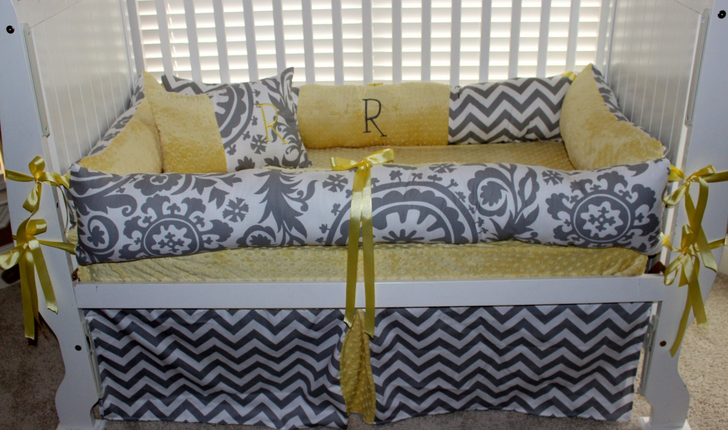 Custom Baby Bedding Gender Neutral 6 Pc Set Yellow And Grey