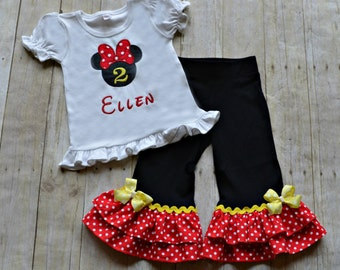 Red and Black Minnie Mouse Outfit - Minnie Mouse Birthday Outfit - Girls Birthday Outfit