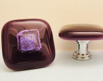 Dichroic Fused Glass Knob Purple Cabinet Knobs Pulls Hardware Fixture Home Decor Kitchen Bathroom Closet Door Pulls Furniture Handles