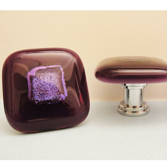 Dichroic Fused Glass Knob Purple Cabinet Knobs Pulls Hardware
