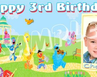 Sesame Street Personalized Custom Vibrant Artist Vinyl Birthday Banner Party Decoration with Photo