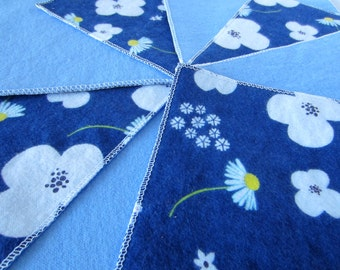 Diaper Wipes/Flannel Washcloths/Cloth Diaper Wipes for Baby, White Flowers on Blue (10)