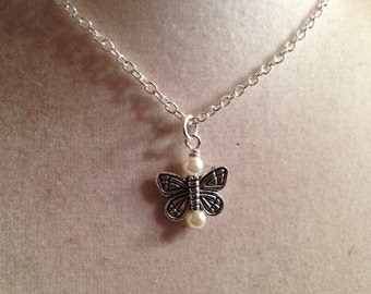 Butterfly Necklace Pearl Jewelry Pendant Jewellery Children Wedding Flower Girl