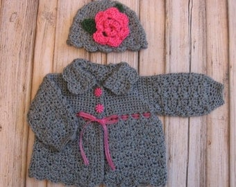 Crochet Baby Girl Sweater and Hat Set Infant Sweater Set Knit Baby Sweater Baby Jacket Set  Baby Sweater and Beanie Newborn Baby Sweater