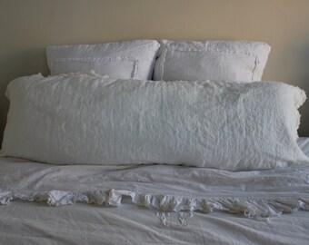 Body pillow sham linen with raw edged ruffle cream - custom for Chandra