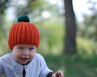 Knit baby beanie pumpkin hat with green pompom