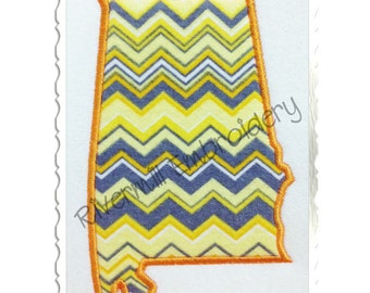State of Alabama Applique Machine Embroidery Design - 4 Sizes