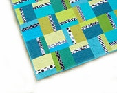 Baby quilt, modern geometric quilt, boy quilt, crib quilt, patchwork quilt, wall hanging,  - solids - blue, green, turquoise