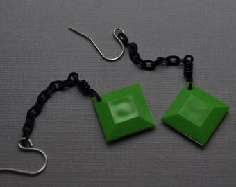 Lime Green Earrings/ Geometric Earrings/ Square Earrings/ Green and black dangle