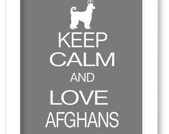 Afghan art print, Keep Calm and Love Afghans, Modern Wall Decor