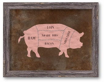 Pig Butchers chart, Pig Chef Chart Art Print, Chefs Wall Decor, Rustic, Distressed Pig, Farm Animals