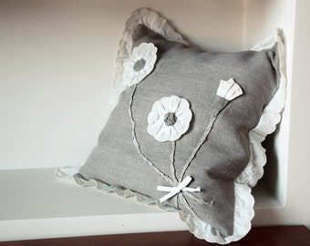 Linen Pillow Cover With Flowers Appliqued Shabby Chic Style