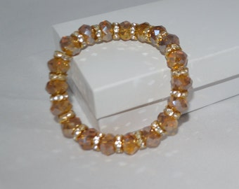 SALE Golden Crystal Bracelet Hand-Beaded Stretchy Fits All Gifts for Her Valentine Gifts Child Jewelry