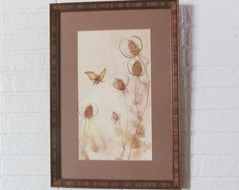 Vintage Original Artwork Woodland Prairie Brown Gold Wildflower Thistle & Butterfly Framed Art Signed Gallant Watercolor Cottage Chic Decor