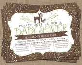 woodsy baby shower invitation, deer and squirrel, green and brown, digital, printable file