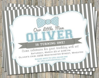 little man bow tie birthday party invitation, blue and gray,  digital, printable file