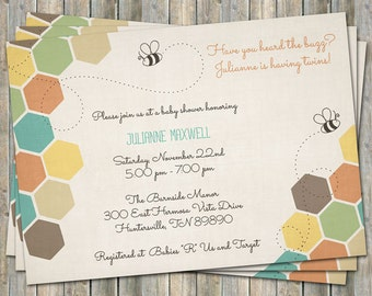 colorful baby shower invitation, bee and honey comb, typography shower invitation, digital, printable file