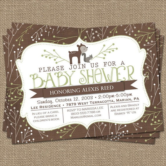 Woodsy Baby Shower Invitation Deer And Squirrel Green And