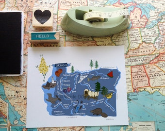 "Oregon Illustrated 8""x10"" Map"