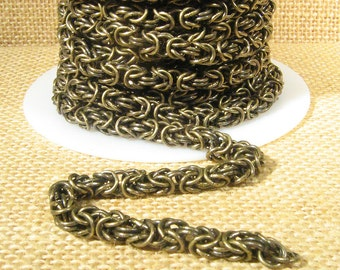 Byzantine Chain - Antique Brass - Choose Your Length