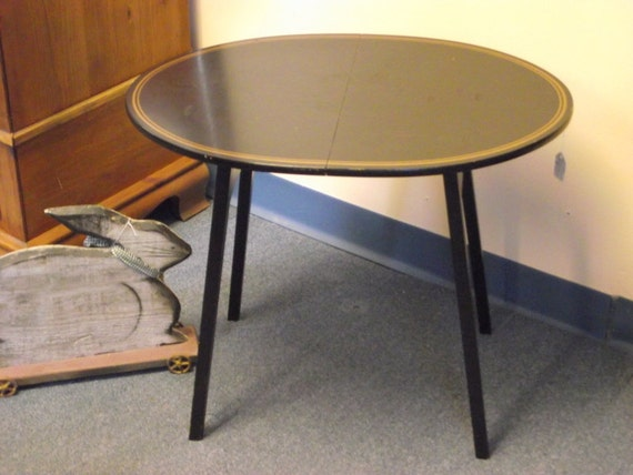 Oval Folding Table Howe Of New York Furniture Co Black Amp Gold