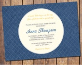 blue baby shower invitations with banner, gender neutral baby shower invitation, dark blue, digital, printable file (item20b)