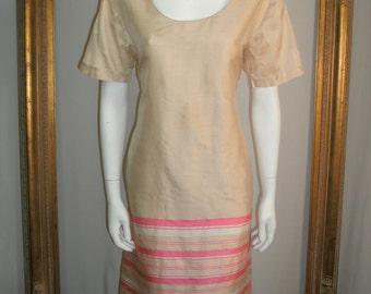 Vintage Silk Look Beige Dress with Pink & White Stripes - Size 12