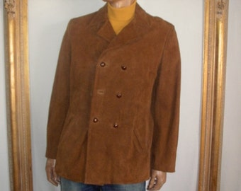 Vintage 1970's Brown Suede Double Breasted Jacket - Size Large