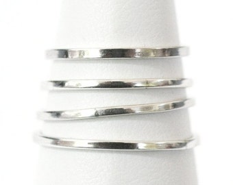 4 Smooth Stackable Silver Rings Size 6-6-5-5