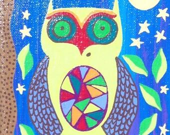 Kerri Ambrosino Art NEEDLEPOINT Mexican Folk Art Talavera  Night  Owls Moon Stars Twilight Bright moon