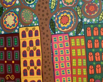 Kerri Ambrosino Art PRINT Mexican Folk Art Park Slope Brooklyn New York City Tree of Life Flowers Apartments Condos