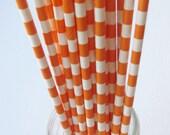 10 Paper Orange and White Ringed Straws - Free Printable Straw Flags