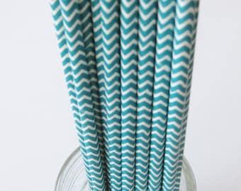 50 Aqua and White Paper Chevron Straws - Free Printable Straw Flags