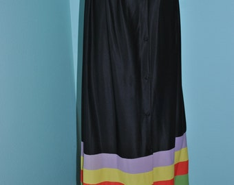 Vintage SKIRT SLIP BATHING Suit Cover Up 60's Black with Bold Stripes Small