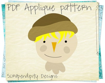 Scarecrow Applique Template - Fall Applique Pattern / Boys Scarecrow Shirt / Fall Table Runner / Scarecrow Quilt Pattern / Printable AP306-D