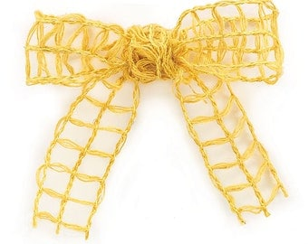 "4yds,23"" Mustard Yellow Open-Weave JUTE Wired Ribbon 1-1/2""wide (Free Shipping!)"