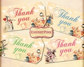 Alice Thank you Tags, Alice in Wonderland Tags, party printable Alice decoration labels, perfect for parties, presents and invitations.