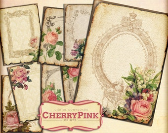 SHABBY ROSE shabby chic printable digital collage sheet, digital supplies for scrapbooking and craft, instant download