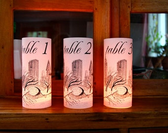 Set of 15 NEW YORK WEDDING Table Number Luminaries - just add candles - set of 15