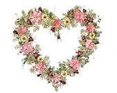 Queen of Hearts  - Valentine's Day - Presssed Flower Art - Original Giclee Print