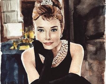 Audrey Hepburn Art Painting Breakfast at Tiffanys - ORIGINAL Watercolor 8 x 10 - Holly Golightly Truman Capote Givenchy Pearls LBD