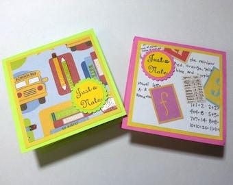 Teacher Post It Pads, School Themed Sticky Notes, Teacher Note Pads, School Bus Pads, School Sticky Notes, Just A Note Post It Pads, Gift