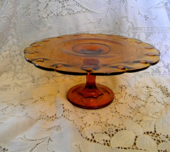 Cake stand indiana glass teardrop pattern 1950s for Colored glass cake stand